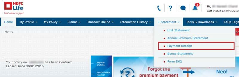 HDFC Life Payment Receipt