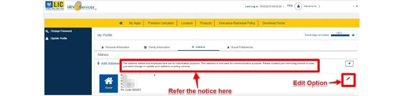 LIC policy address change