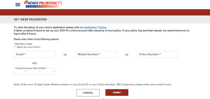 icici prudential password reset