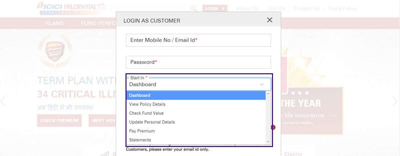 Login as Existing user in ICICI Pru customer portal