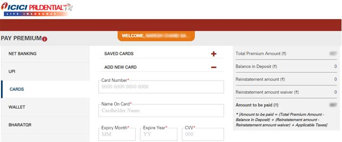 ICICI Pru Payment by Card