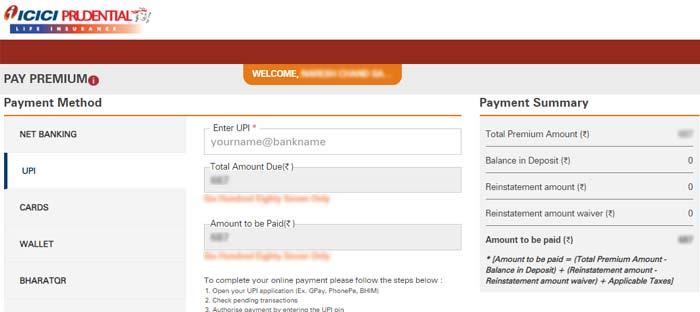 ICICI Pru UPI Payment