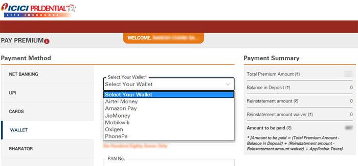 ICICI Pru Payment By E Wallet