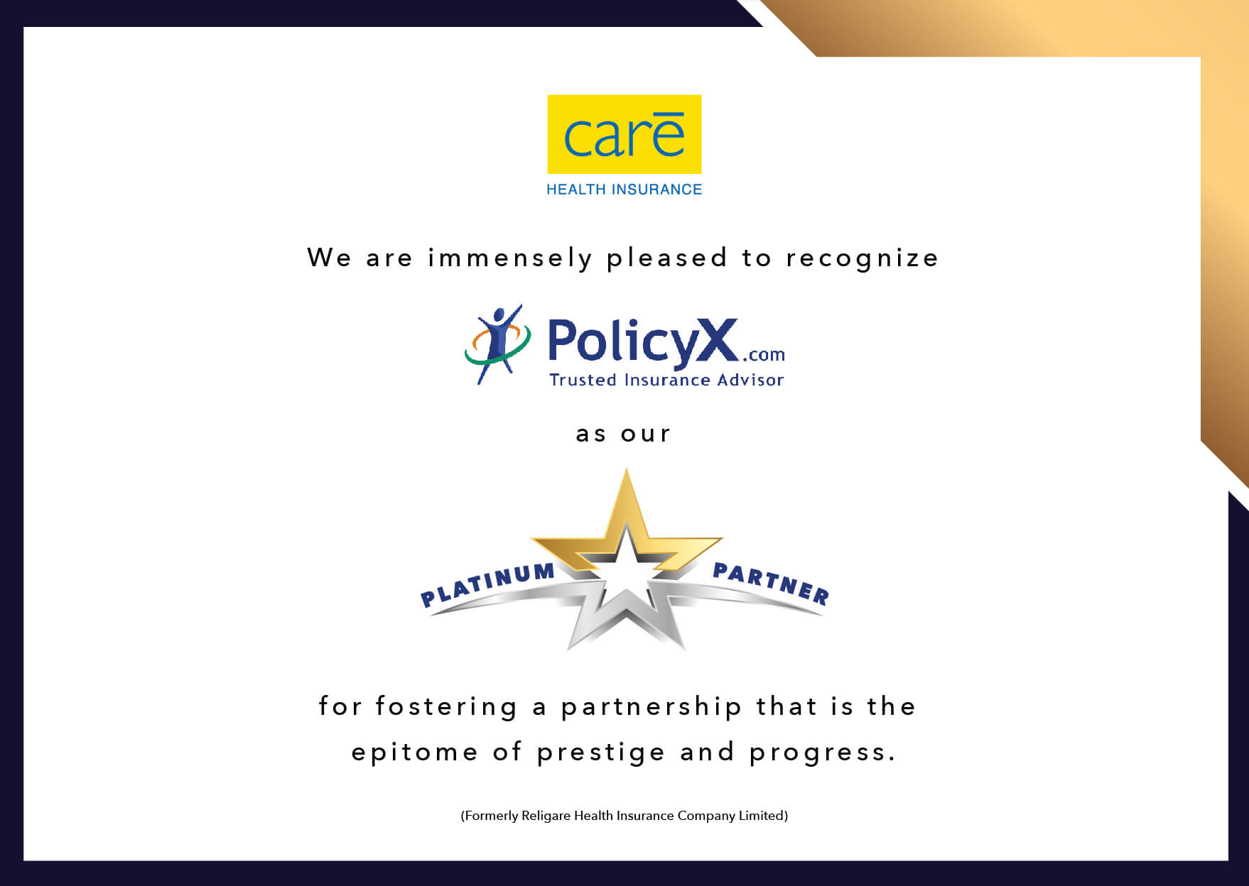 POLICY X - PLATINUM PARTNER CERTIFICATE