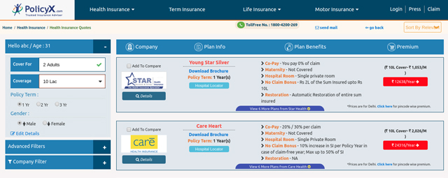 Result about premium details of different health insurance plans