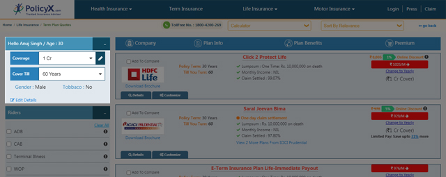 Update The Coverage Amount and Policy Tenure in Term Insurance Calculator